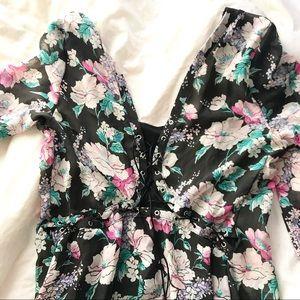 Nasty Gal floral lace back dress